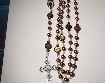 Handmade Catholic Rosary Prayer Beads Brown Black