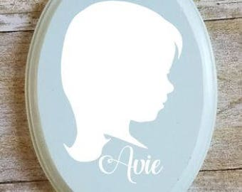 Vintage Blue Oval Silhouette Mini
