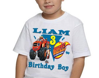 Blaze Birthday Shirt Monster Machine Personalized T-shirt Tee Boy Girl Childs TShirt Custom Made Name And Age Kids Decorations Party Gift