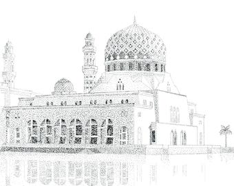 Kota Kinabalu City Mosque, Malaysia, Borneo, Ink Drawing, Postcard