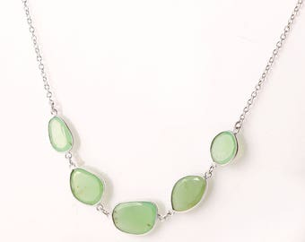 Chrysoprase 92.5 sterling silver necklace