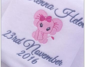 Personalised Blanket, Baby Blanket, Newborn,Birthday,Christening, Gift, Personalised Baby Blanket, Baby Boy, Baby Girl, Elephant Design