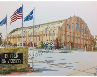 Hinkle Fieldhouse Butler University LIMITED EDITION Pen and Ink and Watercolor Art Print Illustration - Graduation Gift, university