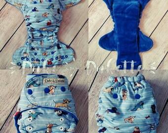 Tsunami Solution w/out booster - OS Fitted Cloth Diaper - blue diaper - pugs - hemp fleece - heavy wetter - wahm made - Organic Hemp -