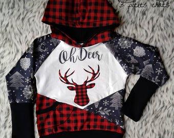 Grow with me hoodie / 3T-6T/ Oh Deer and plaid / adjustable sweatshirt