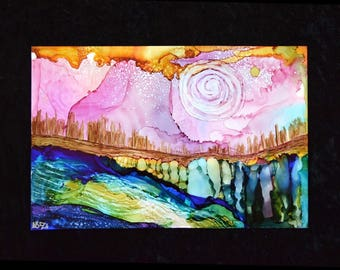 Colorful and whimsical alcohol ink dreamscape