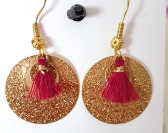 Creation is handmade brass earring Golden fushia pink tassel size 2.5 cm