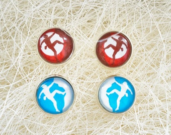 Rock Climbing  stud earrings - Mountain earrings - Red earrings