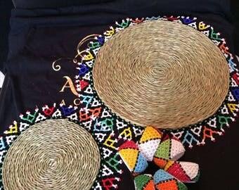 Beaded Zulu Place Mat (Bead & Woven Grass) set of 18