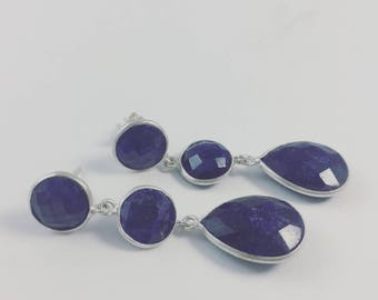 Three stone Lapis Earrings