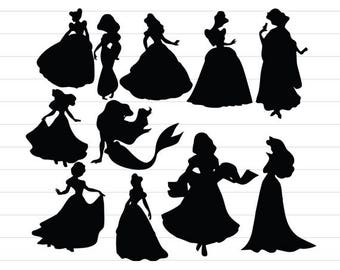 INSTANT DOWNLOAD - Disney Princess Svg, Disney Princess Silhouette, Disney Princess Svg Files, Disney Princess Clipart, Digital Cut File