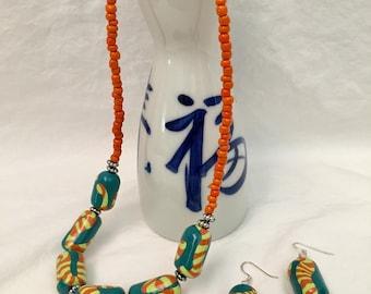 Polymer Orange/Green Cylinder Beaded Necklace/Earring Set