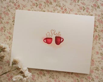 Mugs and Love // Handmade Blank Card // Original Watercolor Painting // Valentine's Day