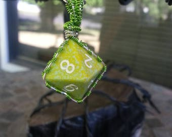 Sterling silver and green wire wrapped dice pendant necklace