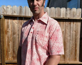 Jantzen 70s men's shirt, vintage collared shirt, large, hipster, 1970s leisure, red and white