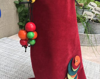 Red Suede Leather Wine Tote with Colorful Beads, Wine Bag