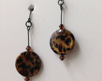 Leopard Disc Dangle Earrings; Black Wires Earrings; Contemporary Design; Earrings under !0; Gifts for Her