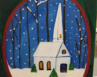 Church painting Christmas snow