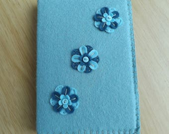 Duck Egg and Teal Floral Felt Covered Notebook