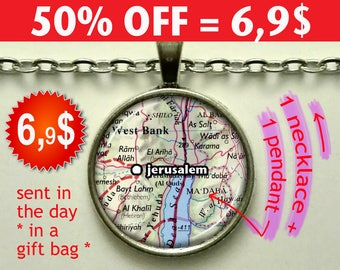 Jerusalem map necklace, Jerusalem necklace, Jerusalem map pendant, Jerusalem pendant, map jewelry map keychain N139