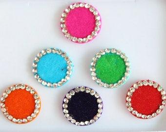 6 Colorful Big Round Wedding Bindis ,Round Bindis,Velvet Colorful Bindis,Colorful Face Jewels Bindis,Bollywood Bindis,Self Adhesive Stickers