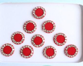 10 Red Bridal Round Bindis ,Round Bindis,Velvet Red Bindis,Wedding Round Red Face Jewels Bindis,Bollywood Bindis,Self Adhesive Stickers Pack