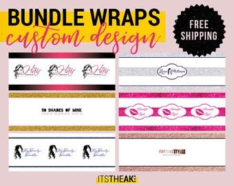 Bundle Wraps – Custom Design – hair extension packaging, hair bundle wraps, extension packaging, salon branding package, hair labels, wrap