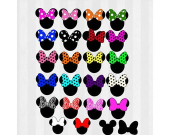 Minnie Mouse Clip art, Minnie Mouse SVG, 23 different bows plus Minnie head, svg cutting file, use as clipart,Silhouette Cameo,cricut, vinyl
