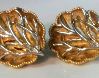 Vintage Signed Coro Tree Motif Gold and Silver Tone Clip on Earrings