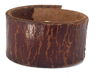 Worn Leather Minimalist Cuff