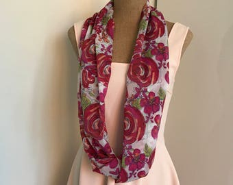 Pink qnd ared Floral Chiffon Single Twist Summer Circle / Infinity Scarf