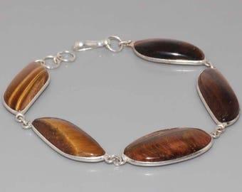 Silver bracelet and Tiger eye cabochons. Chic bracelet, Bohemian bracelet, boho bracelet, antique bracelet vintage bracelet