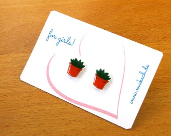 Girl children jewelry earrings earrings flower pot Silver 925
