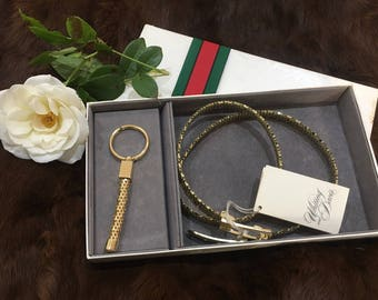 Authentic Vintage Whiting and Davis Adjustable Gold belt with matching keyring