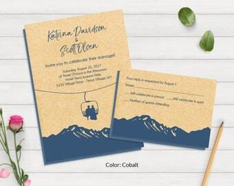 wedding invitations mountains  etsy, invitation samples