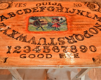 Hand made wood burned Ouija tray.