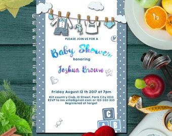 Baby Shower Invitation, Invitation, Boy Baby Shower Invitation, Printable Baby Shower, Boy Baby Shower, Baby Shower Invitation Template