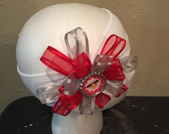 Red and gray hair bow/ headband