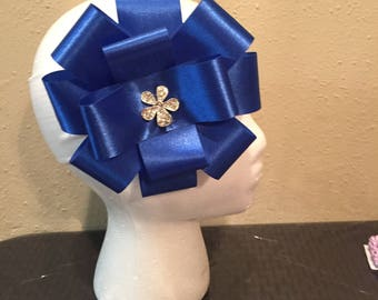 Blue big hair bow/ with white headband