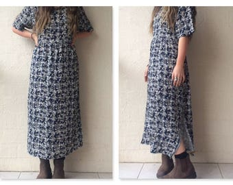 90s Vintage Boho Grunge Oversize Blue & White Checked Floral Print Maxi Dress / large