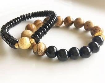 Jasper, Onyx & Glass Beaded Stack Bracelet Set