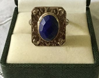 best price - Vintage DESIGN LAPIS STERLING Ring - Beautiful Stone - Lapis Sterling silver - Vintage Hand made Ring