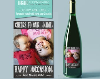 personalized wine labels - wine labels - photo label gift - birthday gift him - gift for her - gift for papa / granddad - waterproof labels