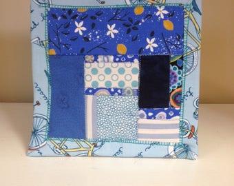 Blue Scrappy #5 Mug Rug Coaster Mini Quilt Wall Art Handmade Quilted