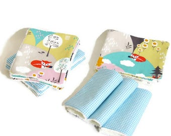 """Washable wipes Terry organic bamboo and cotton fabric """"Little fox"""""""