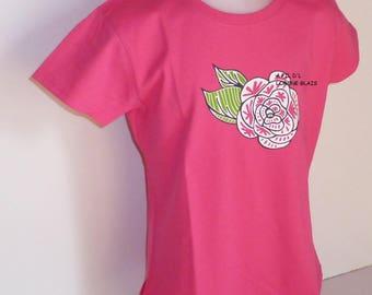 Flower girl T-Shirt Pink ethnic fuchsia green 4-12 years