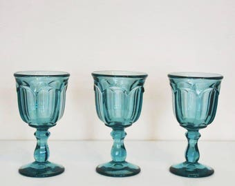 Vintage Old Williamsburg Aquamarine water/wine goblets