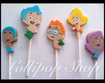 12 Bubble Guppies chocolate lollipops (Birthday, bubble guppies party favors, bubble guppies party)