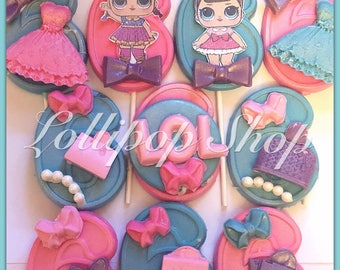 12 LOL Surprise Doll Chocolate Lollipops (LOL Surprise dolls party favors,birthday, party, candy table, dessert, unicorn, thank you, invite)