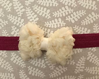 Rosette Bow on Elastic Headband